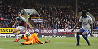 Cardiff City's goalkeeper Neil Etheridge and Bruno Ecuele Manga fail to prevent a crossed ball from Burnley's Dwight McNeil (not pictured) reaching Chris Wood to score his sides second goal<br /> <br /> Photographer Rich Linley/CameraSport<br /> <br /> The Premier League - Saturday 13th April 2019 - Burnley v Cardiff City - Turf Moor - Burnley<br /> <br /> World Copyright © 2019 CameraSport. All rights reserved. 43 Linden Ave. Countesthorpe. Leicester. England. LE8 5PG - Tel: +44 (0) 116 277 4147 - admin@camerasport.com - www.camerasport.com