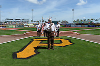 Ted Meekma sings the national anthem before a Pittsburgh Pirates Spring Training game against the Boston Red Sox on March 12, 2015 at McKechnie Field in Bradenton, Florida.  Boston defeated Pittsburgh 5-1.  (Mike Janes/Four Seam Images)