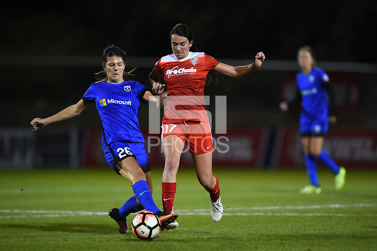 Boyds, MD - Saturday September 30, 2017: Madeline Bauer, Cali Farquharson during a regular season National Women's Soccer League (NWSL) match between the Washington Spirit and the Seattle Reign FC at Maureen Hendricks Field, Maryland SoccerPlex.