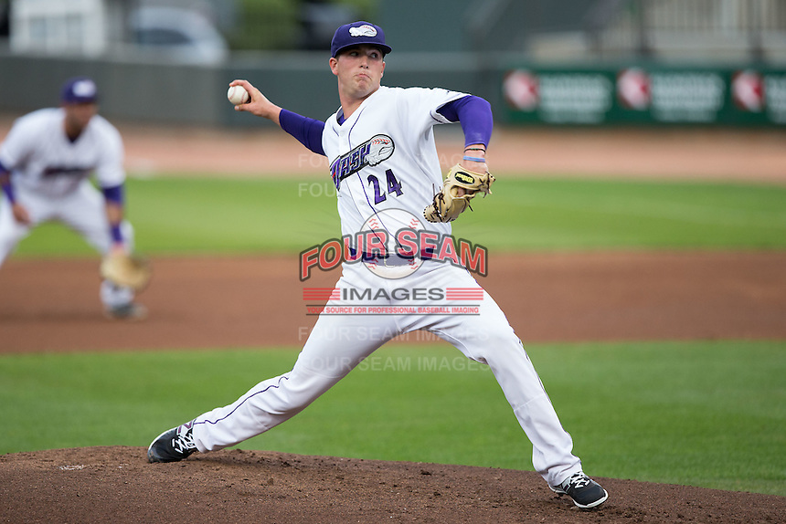 Winston-Salem Dash starting pitcher Thaddius Lowry (24) in action against the Myrtle Beach Pelicans at BB&T Ballpark on April 19, 2016 in Winston-Salem, North Carolina.  The Dash defeated the Pelicans 6-5.  (Brian Westerholt/Four Seam Images)
