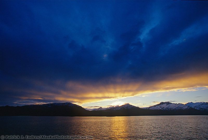 Evening sunset over the Chugach mountains, Prince William Sound, Alaska.