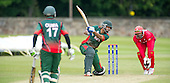 ICC World T20 Qualifier - GROUP B MATCH - CANADA V KENYA at Watsonians CC, Edinburgh - Kenya's Irfan Karim hits out on his way 74 off 54 balls, and Man of the Match — credit @ICC/Donald MacLeod - 10.07.15 - 07702 319 738 -clanmacleod@btinternet.com - www.donald-macleod.com