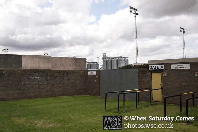 Berwick Rangers 5 East Stirlingshire 0, 23/08/2014. Shielfield Park, Scottish League Two. The deserted and unused away turnstiles outside Shielfield Park, before the Scottish League Two fixture between Berwick Rangers and East Stirlingshire. The home club occupied a unique position in Scottish football as they are based in Berwick-upon-Tweed, which lies a few miles inside England. Berwick won the match by 5-0, watched by a crowd of 509. Photo by Colin McPherson.
