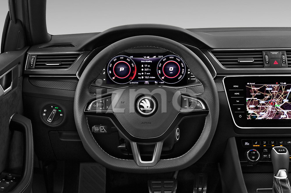 Car pictures of steering wheel view of a 2020 Skoda Superb-Combi Sportline 5 Door Wagon Steering Wheel