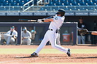 Peoria Javelinas designated hitter Ryan Boldt (26), of the Tampa Bay Rays organization, swings at a pitch during an Arizona Fall League game against the Glendale Desert Dogs at Peoria Sports Complex on October 22, 2018 in Peoria, Arizona. Glendale defeated Peoria 6-2. (Zachary Lucy/Four Seam Images)