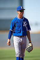 Kansas City Royals Manny Olloque (13) during an Instructional League game against the Cleveland Indians on October 11, 2016 at the Cleveland Indians Player Development Complex in Goodyear, Arizona.  (Mike Janes/Four Seam Images)
