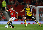 Victor Lindelof of Manchester United and Luke Varney of Burton Albion during the Carabao Cup Third Round match at the Old Trafford Stadium, Manchester. Picture date 20th September 2017. Picture credit should read: Simon Bellis/Sportimage