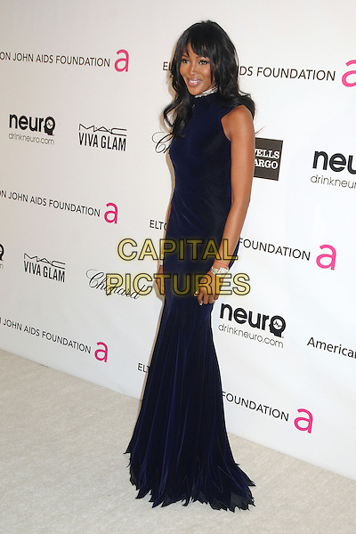 Naomi Campbell.21st Annual Elton John Academy Awards Viewing Party held at West Hollywood Park, West Hollywood, California, USA..February 24th, 2013.oscars full length black midnight navy blue dress sleeveless .CAP/ADM/BP.©Byron Purvis/AdMedia/Capital Pictures.