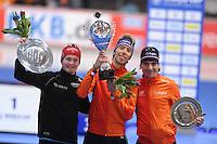SCHAATSEN: ERFURT: Gunda Niemann Stirnemann Eishalle, 21-03-2015, ISU World Cup Final 2014/2015, Final Podium Men 5000m, Sverre Lunde Pedersen (NR), Jorrit Bergsma (NED), Bob de Jong (NED), ©foto Martin de Jong