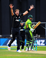Tim Southee traps Azhar Ali LBW during the One Day International cricket match between the NZ Black Caps and Pakistan at the Basin Reserve in Wellington, New Zealand on Saturday, 6 January 2018. Photo: Dave Lintott / lintottphoto.co.nz