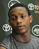 Darron Lee #58 speaks with the media after a day of New York Jets Training Camp at the Atlantic Health Jets Training Center in Florham Park, NJ on Monday, Aug. 7, 2017.