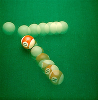 TRANSFER OF ENERGY - BILLIARD BALLS <br /> Cue Ball Strikes A Target Ball<br /> When the cue ball strikes the target ball, it transfers all its energy to forward momentum of target ball