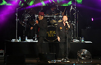 Astro and Ali Campbell of UB40 on stage<br /> UB40 concert at Parc Y Scarlets, Llanelli, Wales, UK. Saturday 10 June 2017