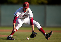 STANFORD, CA - April 15, 2011: Mark Appel of Stanford baseball corrals a sacrifice bunt during Stanford's game against Oregon State at Sunken Diamond. Stanford lost 1-0.