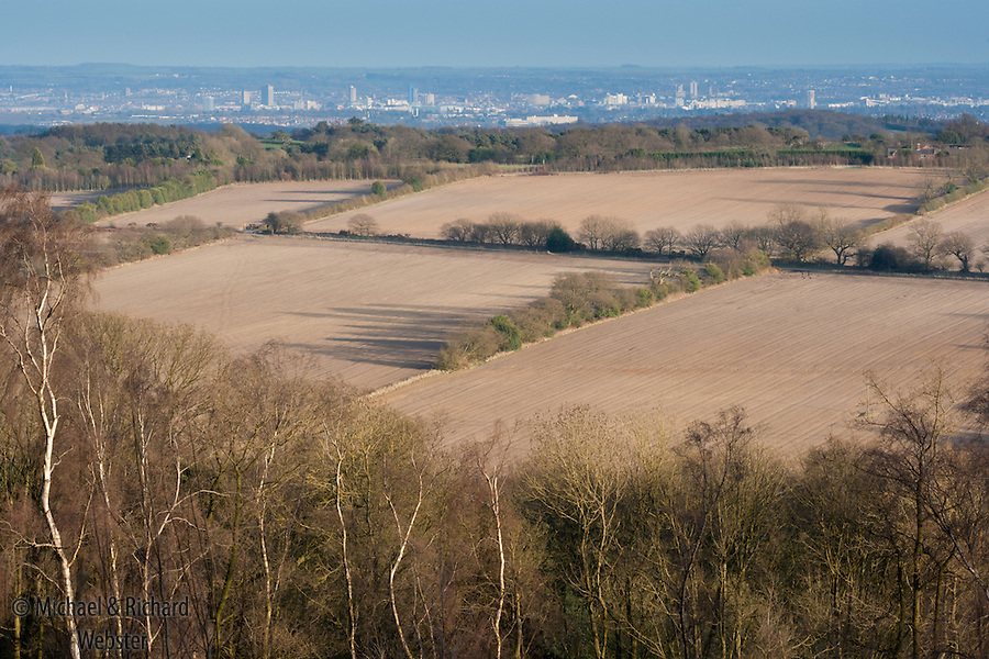 A view from the top of Bardon Hill across a landscape soon to be developed in to a mega- quarry. In the distance is the city of Leicester.