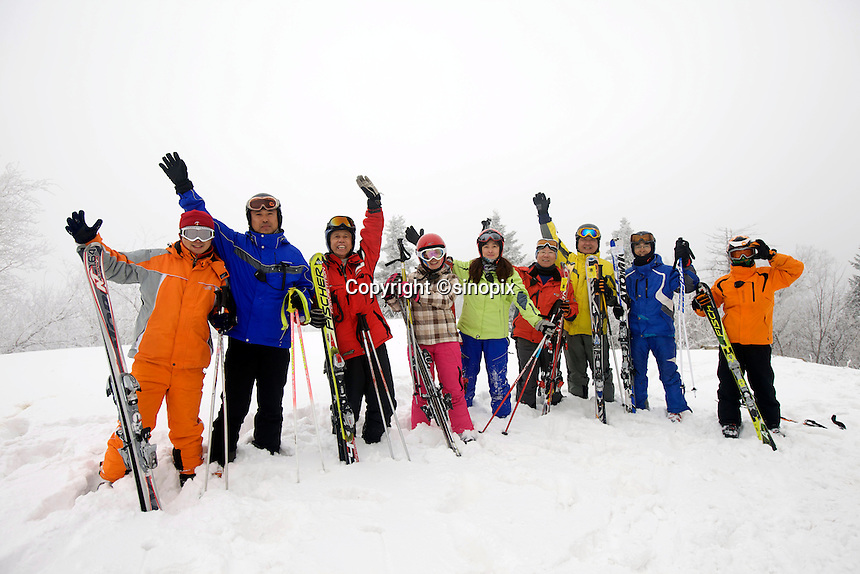 "A group of skiing enthusiast from Changchun province, ski in the Club Med Sun Mountain Yabuli Resort. The first Club Med's holiday resort in China, which is jointly managed by Melco China Resorts (Holding) Limited & Club Med Asie S.A. (""Club Med"")."