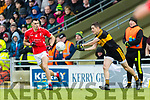 Mike Foley, East Kerry in action against Brian Looney, Dr Crokes  during the Kerry County Senior Club Football Championship Final match between East Kerry and Dr. Crokes at Austin Stack Park in Tralee, Kerry.