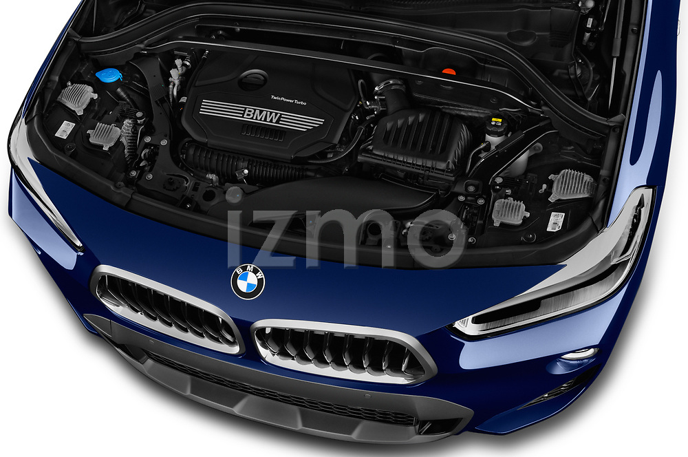 Car stock 2018 BMW X2 M Sport X 5 Door SUV engine high angle detail view