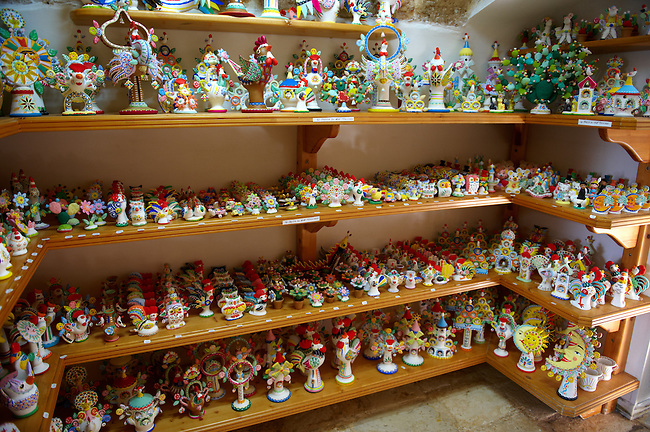 Trulli whistle shop La Botega die Finchietti, interior.  Alberobello, Puglia, Italy.  Pictures, photos, images & fotos.