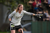 Seattle, WA - Sunday, May 22, 2016: Chicago Red Stars goalkeeper Alyssa Naeher (1) directs her defense during a regular season National Women's Soccer League (NWSL) match at Memorial Stadium. Chicago Red Stars won 2-1.