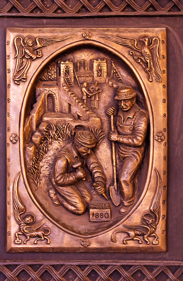 Panel of Bronze Door of the Cathedral Basilica in Santa Fe, New Mexico