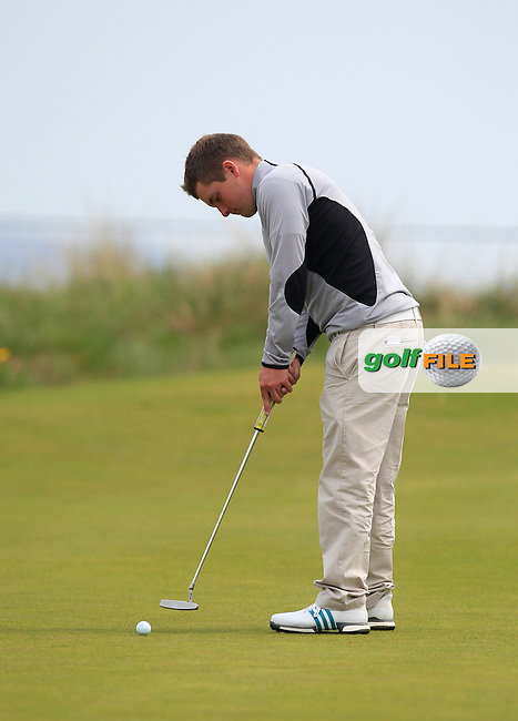 Jack Hume (Naas) on the 7th green during the Flogas Irish Amateur Open Championship Am-Am at Royal Dublin on Monday 9th May 2016.<br /> Picture:  Thos Caffrey / www.golffile.ie
