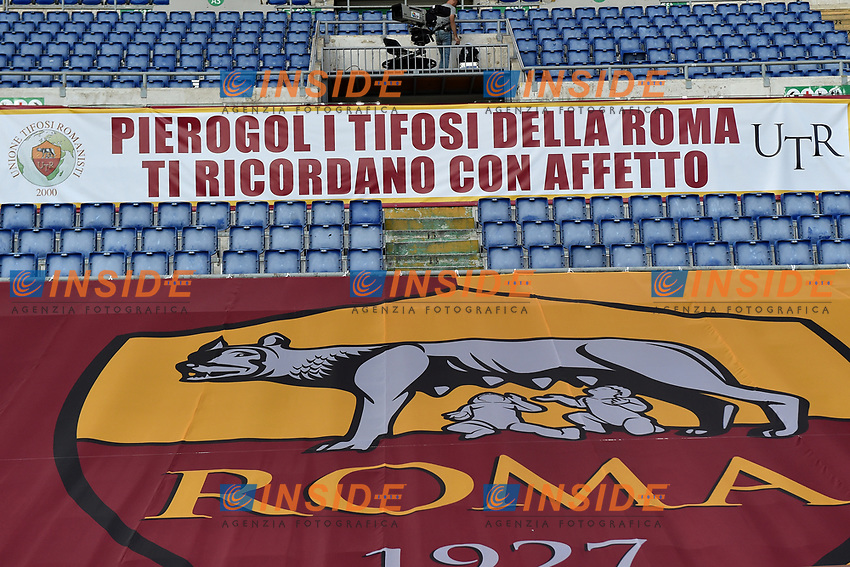 Supporters banner for Pierino Prati<br /> during the Serie A football match between AS Roma and UC Sampdoria at Olimpico stadium in Rome ( Italy ), June 24th, 2020. Play resumes behind closed doors following the outbreak of the coronavirus disease. <br /> Photo Andrea Staccioli / Insidefoto