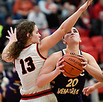 Highland forward Bella LaPorta (left) blocks a shot by Civic Memorial forward Anna Hall. Highland played Civic Memorial in the Class 3A Effingham sectional championship game at Effingham High School in Effingham, Illinois on Thursday February 27, 2020. <br /> Tim Vizer/Special to STLhighschoolsports.com