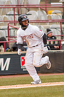 Wisconsin Timber Rattlers outfielder Troy Stokes (15) heads home during a Midwest League game against the Beloit Snappers on April 10th, 2016 at Fox Cities Stadium in Appleton, Wisconsin.  Wisconsin defeated Beloit  4-2. (Brad Krause/Four Seam Images)