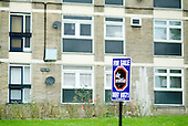 Estate agent's board for sale of a flat on a council estate in Lewisham, London