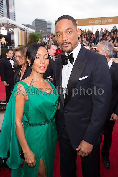 "Jada Pinkett Smith and Will  Smith, Golden Globe Nominee in the category of BEST PERFORMANCE BY AN ACTOR IN A MOTION PICTURE - DRAMA for ""Concussion"", arrive at the 73rd Annual Golden Globe Awards at the Beverly Hilton in Beverly Hills, CA on Sunday, January 10, 2016. Photo Credit: HFPA/AdMedia"