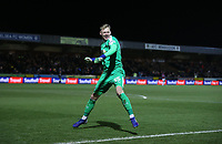 AFC Wimbledon's Aaron Ramsdale celebrates after his side had scored their second goal<br /> <br /> Photographer Rob Newell/CameraSport<br /> <br /> Emirates FA Cup Fourth Round - AFC Wimbledon v West Ham United - Saturday 26th January 2019 - Kingsmeadow Stadium - London<br />  <br /> World Copyright © 2019 CameraSport. All rights reserved. 43 Linden Ave. Countesthorpe. Leicester. England. LE8 5PG - Tel: +44 (0) 116 277 4147 - admin@camerasport.com - www.camerasport.com