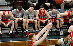 SIOUX FALLS, SD - MARCH 12:  Players from Indiana Wesleyan link arms during a free throw late in the game against IU East in their semifinal game at the 2018 NAIA DII Men's Basketball Championship at the Sanford Pentagon in Sioux Falls. Indiana Wesleyan won 75-72. (Photo by Dave Eggen/Inertia)