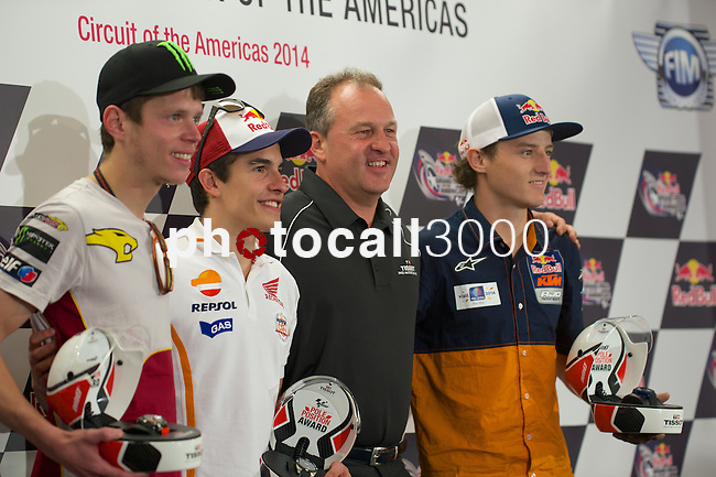 austin. tejas. USA. motociclismo<br /> GP in the circuit of the americas during the championship 2014<br /> 12-04-14<br /> En la imagen :<br /> Press conference<br /> tito rabat<br /> marc marquez<br /> jack miller<br /> photocall3000 / rme
