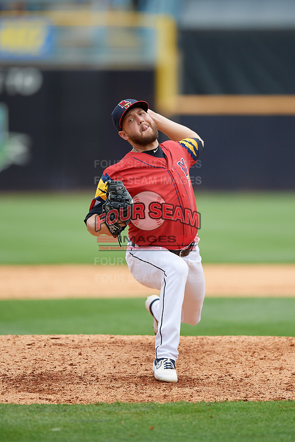 Toledo Mud Hens relief pitcher Matt Hall (22) during an International League game against the Durham Bulls on July 16, 2019 at Fifth Third Field in Toledo, Ohio.  Durham defeated Toledo 7-1.  (Mike Janes/Four Seam Images)
