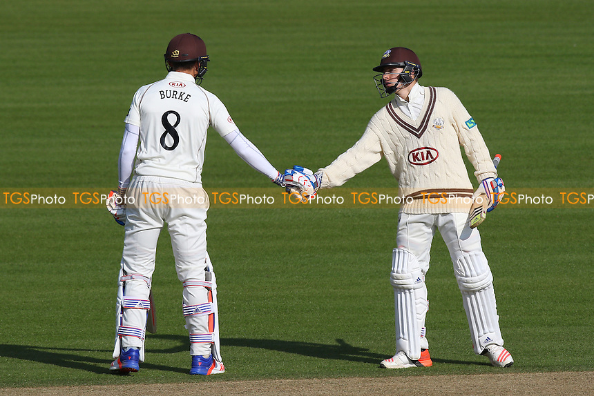 Tom Curran (R) congratulates Surrey batsman James Burke on reaching his fifty during Surrey CCC vs Middlesex CCC, Friendly Match Cricket at the Kia Oval on 22nd March 2016