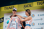 Romain Bardet (FRA) AG2R La Mondiale retains the mountains Polka Dot Jersey after Stage 19 of the 2019 Tour de France originally running 126.5km from Saint-Jean-de-Maurienne to Tignes but cut short to 88.5 km, France. 26th July 2019.<br /> Picture: ASO/Thomas Maheux | Cyclefile<br /> All photos usage must carry mandatory copyright credit (© Cyclefile | ASO/Thomas Maheux)