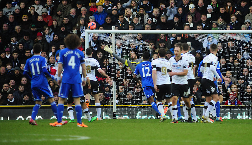 Chelsea's Oscar, left, goes close to opening the scoring with a free kick, which had beaten Derby County's Lee Grant but went just over the cross bar<br /> <br /> Photo by Chris Vaughan/CameraSport<br /> <br /> Football - FA Challenge Cup Third Round - Derby County v Chelsea - Sunday 5th January 2014 - The iPro Stadium - Pride Park - Derby <br /> <br />  &copy; CameraSport - 43 Linden Ave. Countesthorpe. Leicester. England. LE8 5PG - Tel: +44 (0) 116 277 4147 - admin@camerasport.com - www.camerasport.com