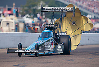 Aug 18, 2019; Brainerd, MN, USA; NHRA top fuel driver Antron Brown during the Lucas Oil Nationals at Brainerd International Raceway. Mandatory Credit: Mark J. Rebilas-USA TODAY Sports