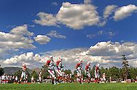 Aug. 1, 2009; Flagstaff, AZ, USA; Arizona Cardinals running backs run drills during training camp on the campus of Northern Arizona University. Mandatory Credit: Mark J. Rebilas-