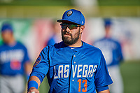 Luis Guillorme (13) of the Las Vegas 51s before the game against the Salt Lake Bees at Smith's Ballpark on May 7, 2018 in Salt Lake City, Utah. The 51s defeated the Bees 10-8. (Stephen Smith/Four Seam Images)