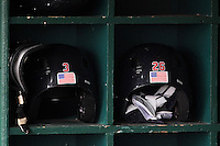 Pawtucket Red Sox batting helmets of Nate Spears #3 and Lars Anderson #26 before a game against the Buffalo Bisons at Coca-Cola Field on April 15, 2012 in Buffalo, New York.  Buffalo defeated Pawtucket 10-9 in ten innings.  (Mike Janes/Four Seam Images)