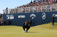 Marcus Kinhult (SWE) on the 18th green during Round 4 of the Betfred British Masters 2019 at Hillside Golf Club, Southport, Lancashire, England. 12/05/19<br /> <br /> Picture: Thos Caffrey / Golffile<br /> <br /> All photos usage must carry mandatory copyright credit (© Golffile | Thos Caffrey)