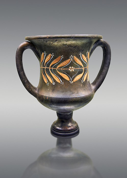 Early 3rd century B.C Etruscan wine Krater, black and overpainted with a leaf design, inv 4382, National Archaeological Museum Florence, Italy , against grey