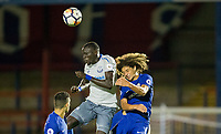 Scorer of the 3rd goal Oumar Niasse of Everton wins the ball in the air from Ethan Ampadu during the U23 Premier League 2 match between Chelsea and Everton at the EBB Stadium, Aldershot, England on 25 August 2017. Photo by Andy Rowland.