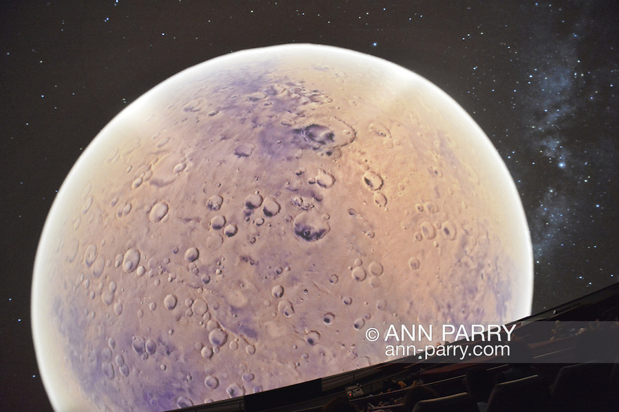 """Oct 4, 2012 - GARDEN CITY, NEW YORK U.S. - At the new JetBlue Sky Theater Planetarium at Cradle of Aviation Museum, Nassau County students watched """"We Are Astronomers"""" a digital planetarium show, which included a view of Mars. The planetarium, a state-of-the-art digital projection system, officially opens this weekend."""