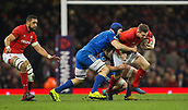 17th March 2018, Principality Stadium, Cardiff, Wales; NatWest Six Nations rugby, Wales versus France; Dan Biggar of Wales is tackled by Wenceslas Lauret of France