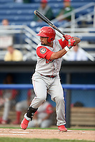 Williamsport Crosscutters first baseman Wilmer Oberto (22) at bat during the second game of a doubleheader against the Batavia Muckdogs on July 29, 2014 at Dwyer Stadium in Batavia, New York.  Batavia defeated Williamsport 1-0 in 11 innings.  (Mike Janes/Four Seam Images)