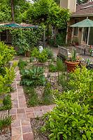 Backyard edible garden designed with narrow paved paths between beds; Judy Adler Garden, Walnut Creek, California