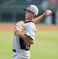 Starting pitcher Cody Buckel (22) of the Hickory Crawdads, Class A affiliate of the Texas Rangers, prior to a game against the Greenville Drive on July 1, 2011, at Fluor Field at the West End in Greenville, South Carolina. (Tom Priddy/Four Seam Images)